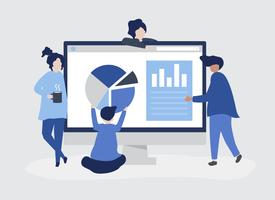 Characters of people analyzing graphs and diagrams illustration