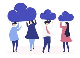 Charaktere von Geschäftsleuten, die Wolkenikonenillustration halten