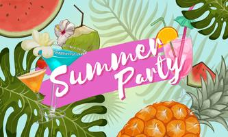 Tropical summer party invitation design vector