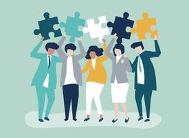 Karakter van mensen uit het bedrijfsleven houden puzzel stukjes illustratie