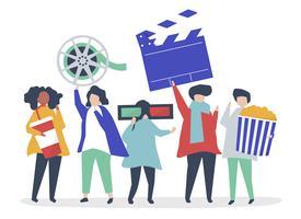 Personajes de personas sosteniendo ilustración de iconos de película