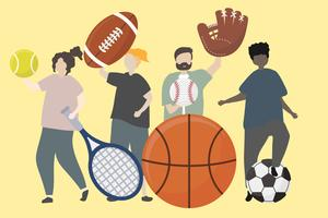 A group of people with sport equipment illustration