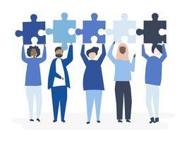 Diversas personas sosteniendo diferentes piezas de puzzle ilustración