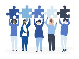 Diverse people holding different puzzle pieces illustration