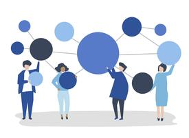 People holding connected copy space circle icons illustration