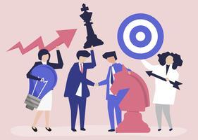 Pessoas negócio, segurando, meta, e, estratégia, ícones, ilustração