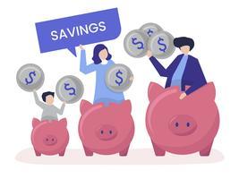 Familia con ilustración de iconos de ahorro y hucha