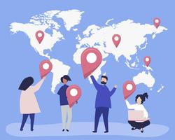 Tecken personer med markörer på kartan