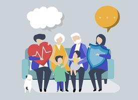 Charaktere einer Großfamilie mit Gesundheitswesenillustration