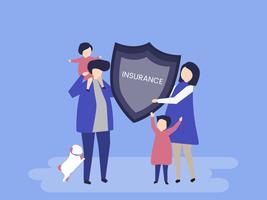 Karaktär av en familj med en försäkring illustration
