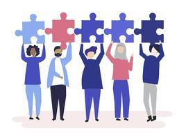 Verschiedene Leute, die unterschiedliches Puzzlespiel halten, bessert Illustration aus