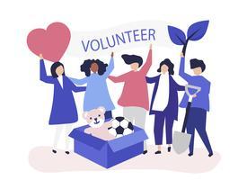 Persone che fanno volontariato e donano denaro e oggetti a una causa benefica