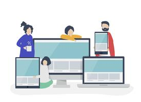 Gens avec illustration de concept de design web