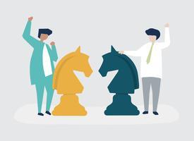 Karakters van twee zakenlieden die schaakillustratie spelen