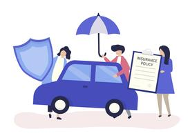 People with icons related to car insurance vector