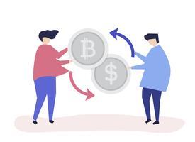 Le persone si scambiano bitcoin in dollari