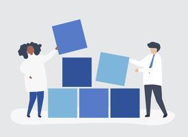 Teamwork concept illustration of a couple building blocks together