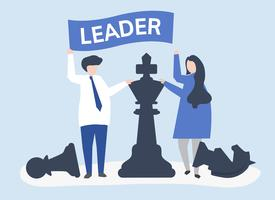 Empresarios con bandera de liderazgo y piezas de ajedrez gigantes.