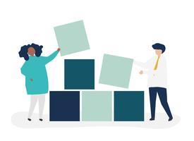 De illustratie van het groepswerkconcept van een paarbouwstenen samen