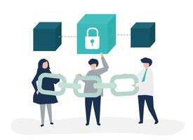 Illustrazione di concetto di sicurezza della gente che tiene una catena