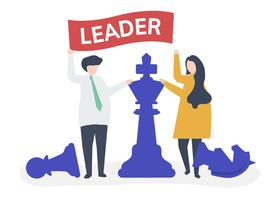 Business people with leadership flag and giant chess pieces