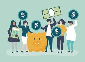 Grupo diversificado de pessoas e ilustração do conceito de poupança