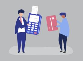 Characters of people making a credit card transaction illustration