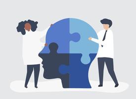 Människor kopplar samman pusselstycken av ett huvud tillsammans
