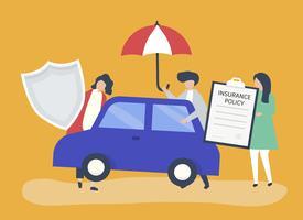 Pessoas com ícones relacionados ao seguro de carro