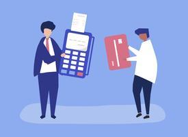 Caratteri di persone che fanno un'illustrazione di transazione con carta di credito