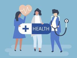 Personagens de pessoas segurando a ilustração de ícones de saúde