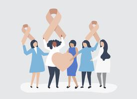 Personnes tenant des rubans roses à l'appui de la sensibilisation au cancer du sein