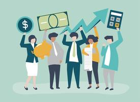 Business people holding financial growth concept illustration