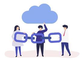 Ilustración de concepto de computación en nube de personas sosteniendo una cadena