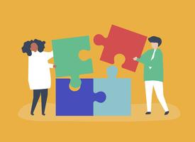 Character of a couple solving puzzle pieces illustration vector