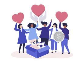 Människor volontäriserar och donerar pengar och föremål till en välgörande orsak