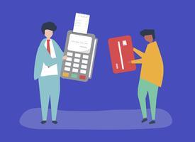 Karakters van mensen die een illustratie van de creditcardtransactie maken