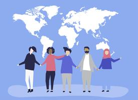 Character illustration of people with a world map illustration