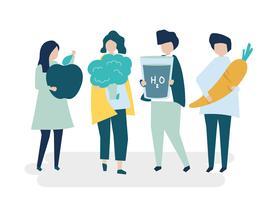 Tecken på personer som håller hälsosam mat illustration