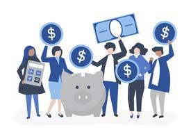 Diverso gruppo di persone ed illustrazione di concetto di risparmio