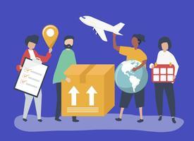 Charakter von Menschen mit internationalen Paketen