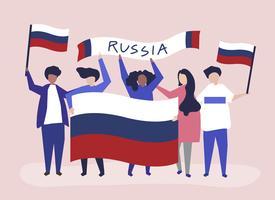 Personnes tenant des drapeaux nationaux russes