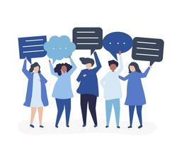 Character illustration of people holding speech bubbles