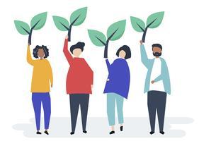 Pessoas segurando ícones de árvore para aumentar a consciência ambiental