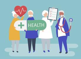 Karakterillustratie van bejaarde mensen die gezondheidspictogrammen houden