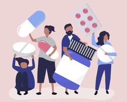 Characters of people holding pharmaceutical icons illustration
