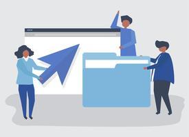 Karaktär illustration av personer med data koncept ikoner