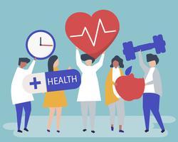 Personnes en bonne santé portant différentes icônes liées au mode de vie sain