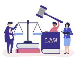 Illustration av människor med rättvisa och ordning ikoner