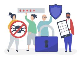 Ilustración de personas con iconos de privacidad y seguridad.